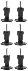 2-Piece Metal Stem Bed Frame Glides/Feet/Legs w/Socket Sleeves Black - Set of 6