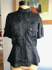 Balenciaga Women's top black rayon Saharienne style top size 38