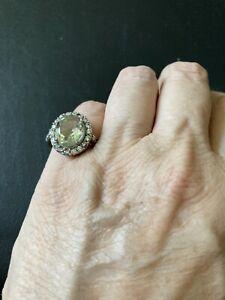 Sterling silver prasiolite ring 7