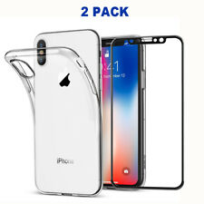 iPhone X Clear Soft Case TPU Cover Clear Tempered Glass Screen Protector Black