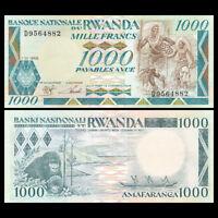 Rwanda 1000 Francs Banknote, 1988, P-21, UNC, Africa Paper Money