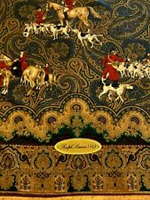 """Vintage Ralph Lauren 100%  Silk 34"""" x 34"""" Hunt Scenes Scarf 1989"""