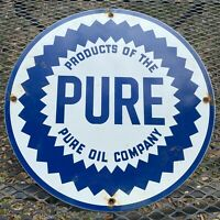 VINTAGE PURE OIL PORCELAIN SIGN GAS STATION PUMP PLATE ADVERTISING PETROLIANA