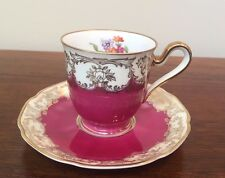 TIRSCHENREUTH Bavaria Footed Demitasse Cup & Saucer Set Pink With Flowers