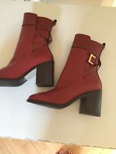Stuart Weitzman Brick Red Leather Buckle Ankle Booties Size 10M Retail $340.00
