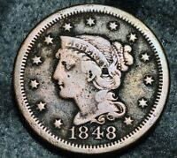 1848 Large Cent Matron Braided Hair 1C Higher Grade Good US Copper Coin CC5341