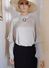H M CONSCIOUS Victorian Edwardian Style Beige Satin Blouse sz 8 10