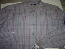 NEW BIG MENS ALFANI GREY-PINK L/S SHIRT SIZE 3XLT $60