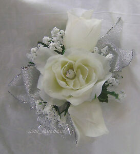 Ivory Roses~baby's breath~wrist~wristlet~Silver~Prom~Party~Quinceanera~Corsage