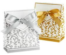 50 NOZZE D'ARGENTO favore SWEET CAKE BOX Borsa Partito Decorazione Tavolo Anniversario