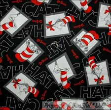 BonEful Fabric Cotton Quilt Black Block Dr Seuss Cat in the Hat Word B&W L SCRAP