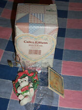 Calico Kittens 178551 Kitten in Wreath Ornament 2 5/8 Inches High