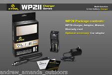 XTAR WP2II Universal Battery Charger w/ AC adapter and Car Adapter