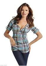 Taillenlange Kurzarm Damenblusen, - tops & -shirts ohne Kragen aus Baumwolle