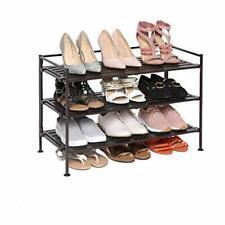 Outdoor Shoe Rack 3 Tier Bathroom Shelf Organizer Closet Metal Stackable Stand