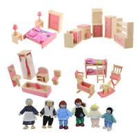 Wooden Doll Bathroom Furniture Dollhouse Miniature for Kids Children Play Toys