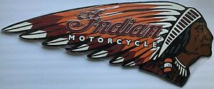 """INDIAN MOTORCYCLE Embossed Vintage Style Metal Sign Large Size 24"""" Long NEW"""