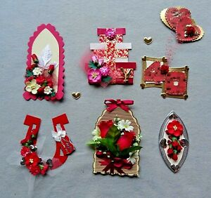6 3D Handmade Card Toppers - Hearts & Flowers