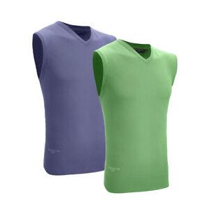 Mens Glenmuir Cotton Interlock V Neck Slipover Zip Neck Sleeveless Top Sweater