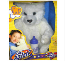 Ours polaire blanc peluche automate Anim'Animaux 50 cm avec biberon