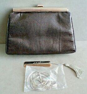 JUDITH LEIBER Black LIZARD CLUTCH Shoulder Bag Signed + COMB +Silver CHAIN STRAP