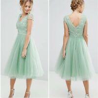Chi Chi London A Devine Dream Tulle Midi Dress Mint Green Size 4 Modcloth Asos
