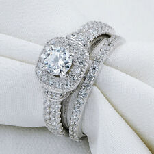 Sterling Silver Blue Round Cz Sz 5 Newshe Wedding Engagement Ring Set For Women
