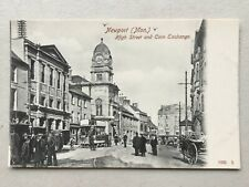 Newport High Street tram car & Corn Exchange c.1904 (Hartmann) postcard