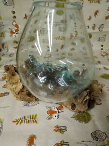 Melted Glass vase bowl On Wood Tree Root Bali Fair Trade
