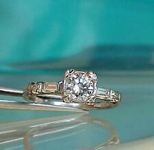 1930s ART DECO PLATINUM .53cttw GIA cert. G VS1 DIAMOND ENGAGEMENT WEDDING RING