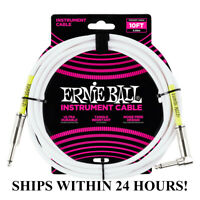**ERNIE BALL 10' GUITAR/BASS INSTRUMENT CABLE(WHITE) - STRAIGHT TO RIGHT ANGLE**