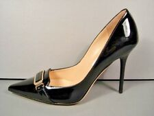 JIMMY CHOO 36.5/6.5 VECTA BLACK LOGO CLASSIC PATENT LEATHER POINTY TOE PUMPS NEW