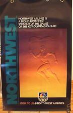 "NORTHWEST AIRLINES ORIGINAL POSTER ""Olympic Torch Runner"" NBC 1988 KOREA  DELTA"