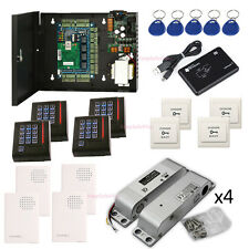 TCP/IP 4 Door Entry Access Control System Kit Surface Mounted Electric Bolt Lock
