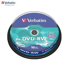 Verbatim DVD-RW 4.7GB 4x Speed 120min Rewritable DVD Discs Spindle Pack 10