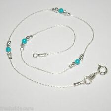 Turquoise Beads Sterling Silver 925 Chain and Beads Handcrafted ANKLET Your Size