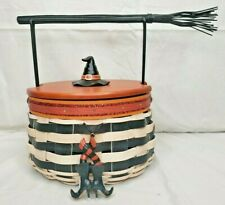 Longaberger Halloween 2013 Wicked Witch Hat Basket Shoes Striped Sock Tie On