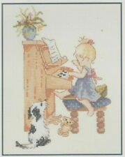 Chloe Playing The Piano Counted Cross Stitch Kit Music Instrument Dog Teddy Girl