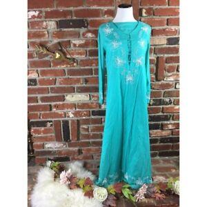 Soft Surroundings Beaded Floral Kaftan Dress Sz XL Petite Spring Time Turquoise