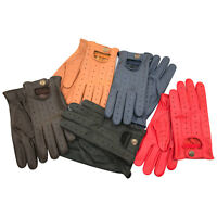 Premium Motorbike Fashion Mens Unlinded Soft Leather Winter Driving Gloves 7012