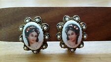 Limoges Porcelain Clip on Earrings