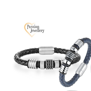 """Men's Fashion Genuine """"HONOUR"""" Bracelet in Real Leather with Titanium Beads"""