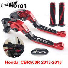 CNC Adjustable Brake Clutch Levers and Grips For Honda CBR500R 2013-2015 red