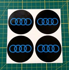 4x Alloy Wheel stickers blue and black 55 mm fit audi center trim cap badge