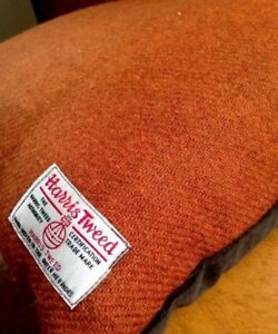 "Harris Tweed Rectangular Cushion Cover Orange Terracotta Rust Plain Classic 18"""