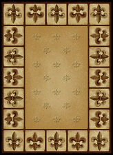 "FRENCH beige FLEUR DE LYS 2x8 area runner EUROPEAN rug : Actual 1' 11"" x 7' 2"