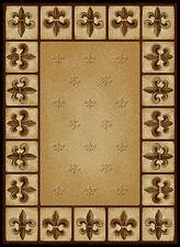 "FRENCH beige FLEUR DE LYS 2x8 area runner EUROPEAN rug : Actual 1' 11"" x 7' 2"