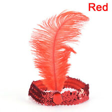 Feather Flapper Sequin  Dress Costume Lady Solid Multicolor Hair Band ^G
