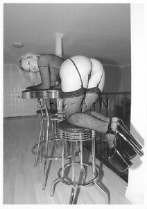 Semi Nude European Postcard- Blond- Stools- Thong- Fishnet Stocking- Butt- Heels