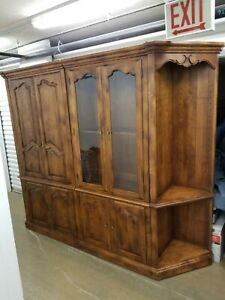 Ethan Allen Country French Collection 4 Piece Wall Unit - corner shelves TV